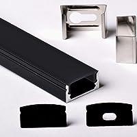 Aftertech® Black Series 2 m 1708N 17 x 8 mm aluminium profiel voor LED-strips, harde strip 2 meter + zwarte afdekking