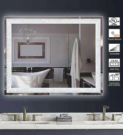 Amazon Com Maggiic Crystal Inlay Ul Listed 36 X 28 Inch Horizontal Vertical Dimmable Led Bathroom Makeup Vanity Mirror Wall Mounted Mirror Anti Fog Ip44 Waterproof Cri 90 Kitchen Dining