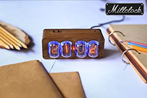 Millclock IN-12 Nixie Tube Clock Assembled with Walnut Wood Enclosure and Adapter 4-Tubes