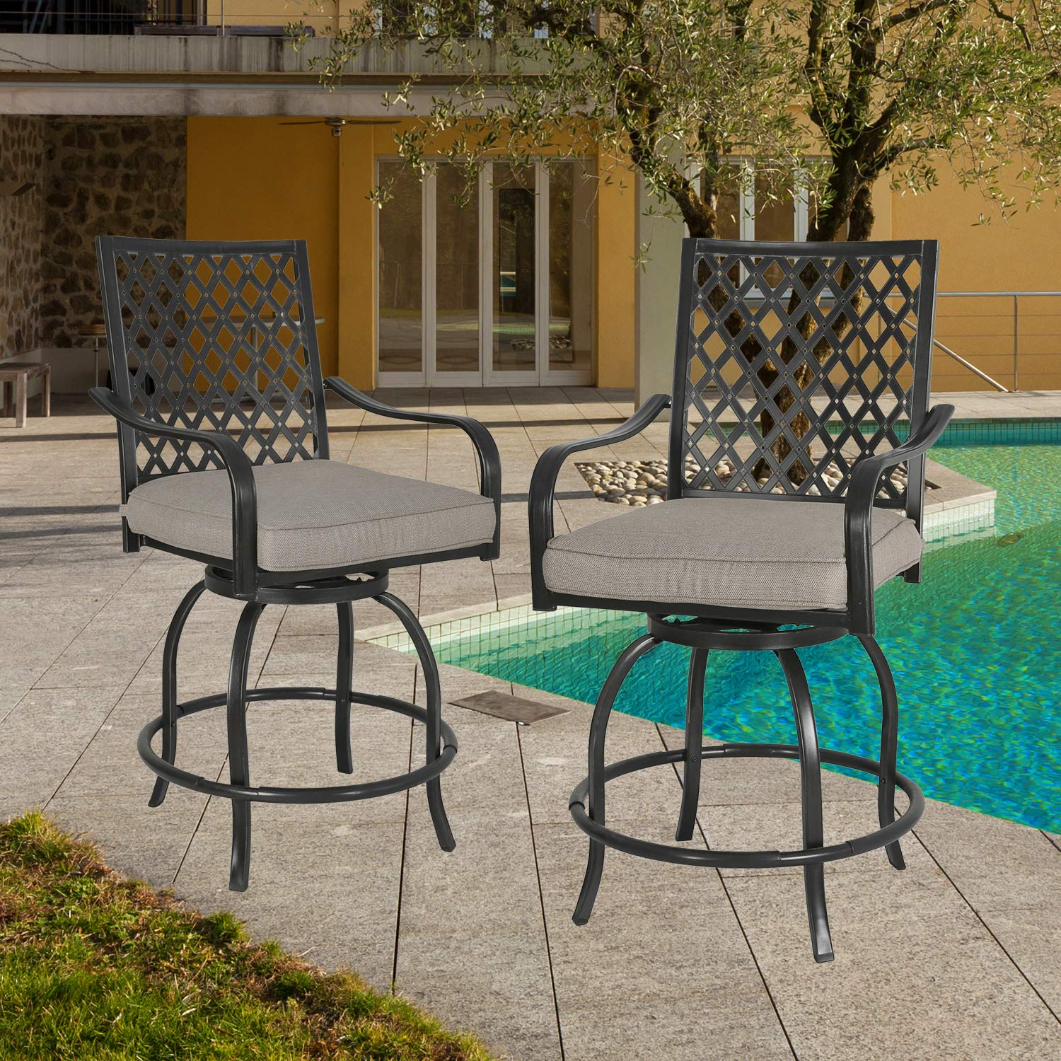 Amazon.com: Iwicker 2 Piece Outdoor Swivel Bistro Bar Stool ...
