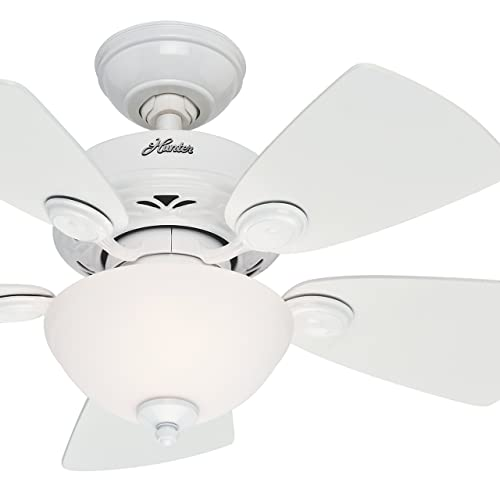 Hunter Fan 34 inch Snow White Finish Ceiling Fan with Painted Cased White Glass Light Kit Renewed