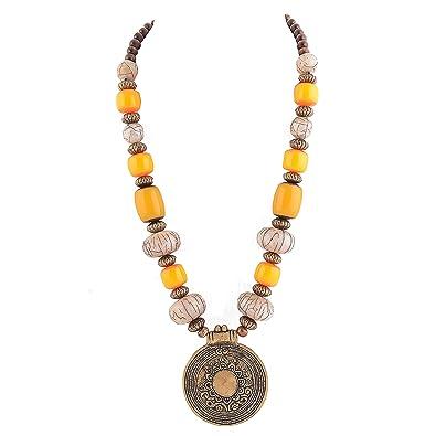 Buy zephyrr brown yellow brass pendant with beads necklace for zephyrr brown yellow brass pendant with beads necklace for women aloadofball Images
