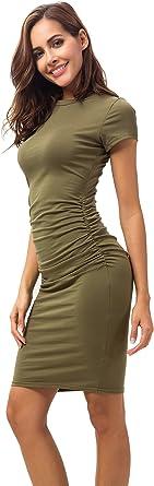 Missufe Bodycon damska marszczona sukienka do kolan sukienka ołÓwkowa z krÓtkim rękawem - sukienka wiązana l: Odzież