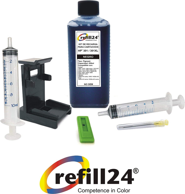 Kit de Recarga para Cartuchos de Tinta HP 301, 301 XL Negro, Incluye Clip y Accesorios + 250 ML Tinta: Amazon.es: Electrónica