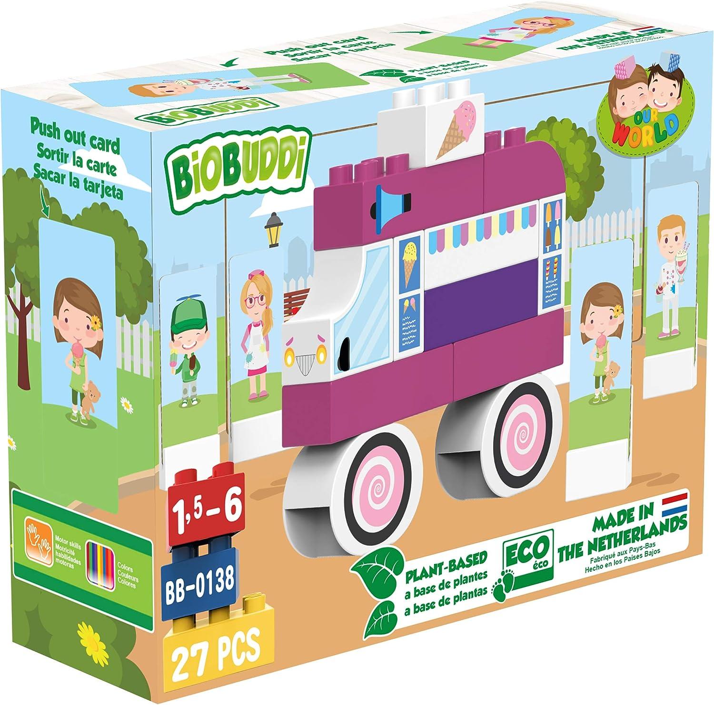 BIOBUDDI City Life Ice Cream Set Eco Friendly Building Blocks for Kids