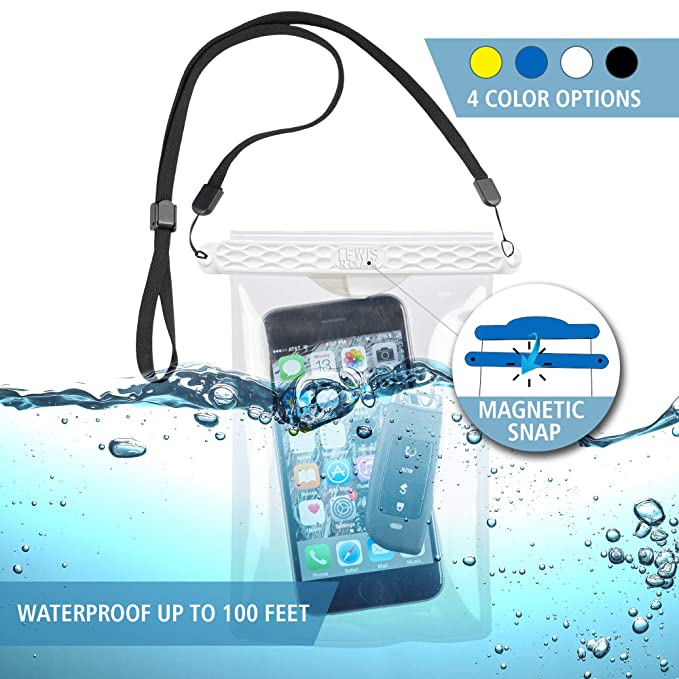 Lewis N  Clark Waterseals Magnetic Self-Sealing Waterproof Pouch + Dry Bag  for Cell Phone or Tablet, Great for Kayak, Canoe, Pool or Beach
