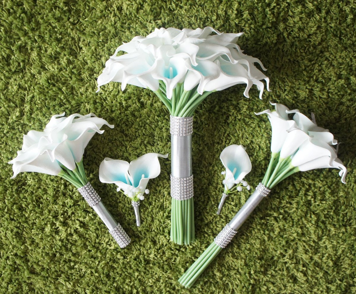Lily-Garden-Artificial-Wedding-Floral-Set-Turquoise-and-White-Calla-Lily-with-Silver-Ribbon-and-Bling