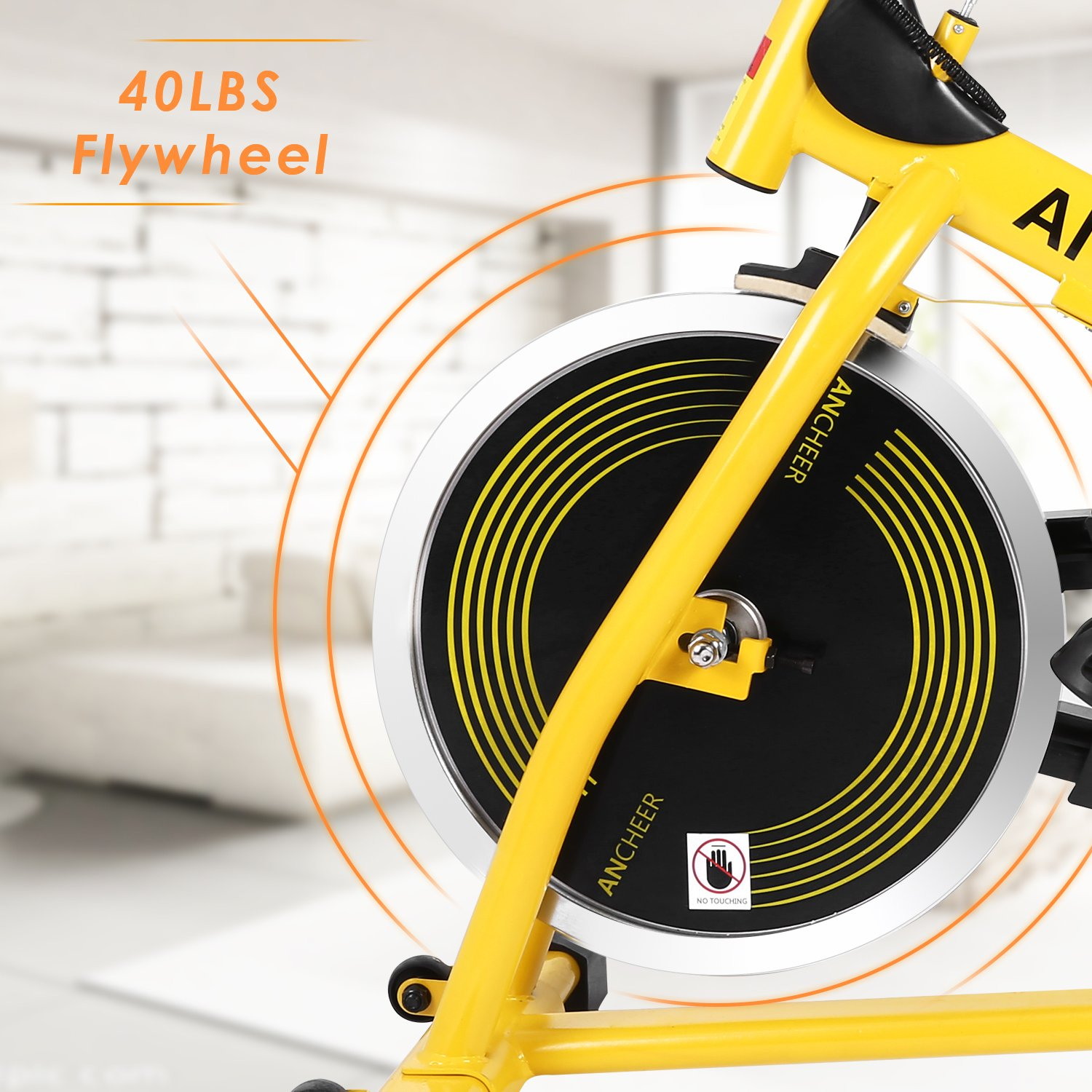 ANCHEER Stationary Bike, 40 LBS Flywheel Belt Drive Indoor Cycling Exercise Bike with Pulse, Elbow Tray (Model: ANCHEER-A5001) (Yellow) by ANCHEER (Image #3)