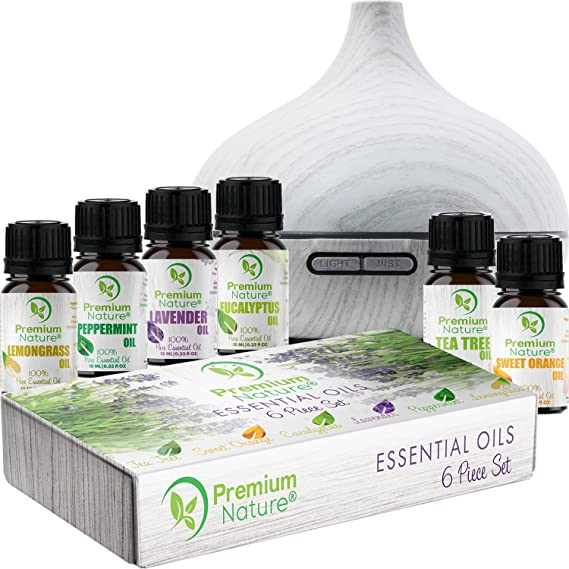 Aromatherapy Essential Oil & Diffuser Gift Set–250mlタンク& Top 6Oils–Therapeutic Grade–ペパーミント、ティーツリー、レモングラス、ラベンダー、スイートオレンジ&ユーカリ–自動遮断& 7色LEDライト