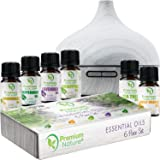 Diffuser & Essential Oils Gift Set - Aroma Humidifier 250ml Tank & Top 6 Essential Oil Bottles, Auto Shut-off & 7 Color LED Lights Relaxing Aromatherapy Improved Sleeping And Breathing Best Gift Idea