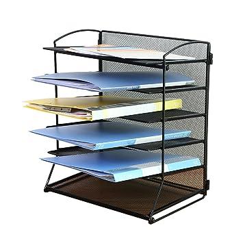TOROTON 6 Trays Mesh Desktop Document Letter Tray Organizer, Office Desktop  Sorter Rack   Black