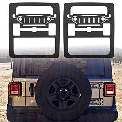 RT-TCZ Aluminum Black Rear Taillights Light Guard Tail Light Cover For 2020 Jeep Wrangler JL Sport/Sports - Pair(Jeep Logo): Automotive
