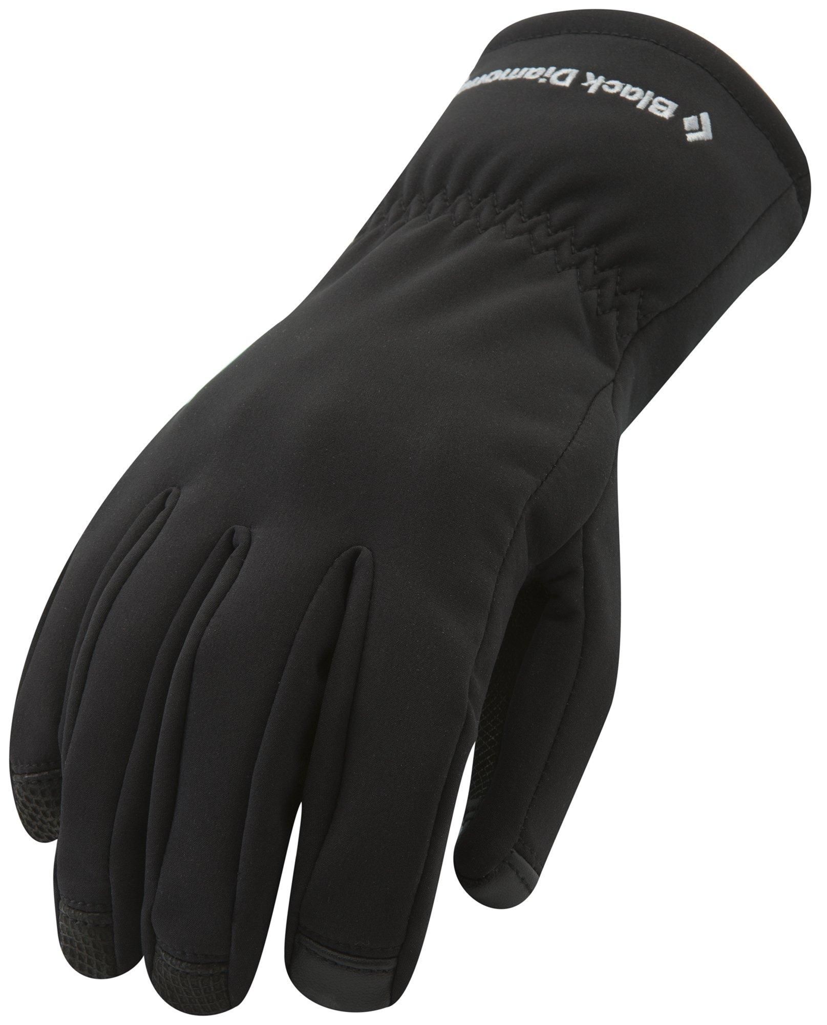 Black Diamond Soft Shell Skiing Gloves, Black, Large