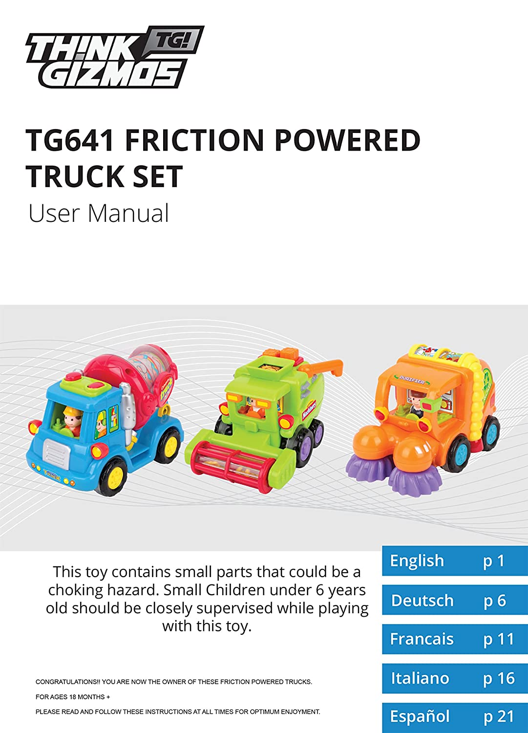 Amazon.com: Friction Toys For Toddlers TG641 (Set Of 3) Friction Powered  Push & Go Cement Mixer Truck / Street Sweeper / Harvester Truck With  Functions ...
