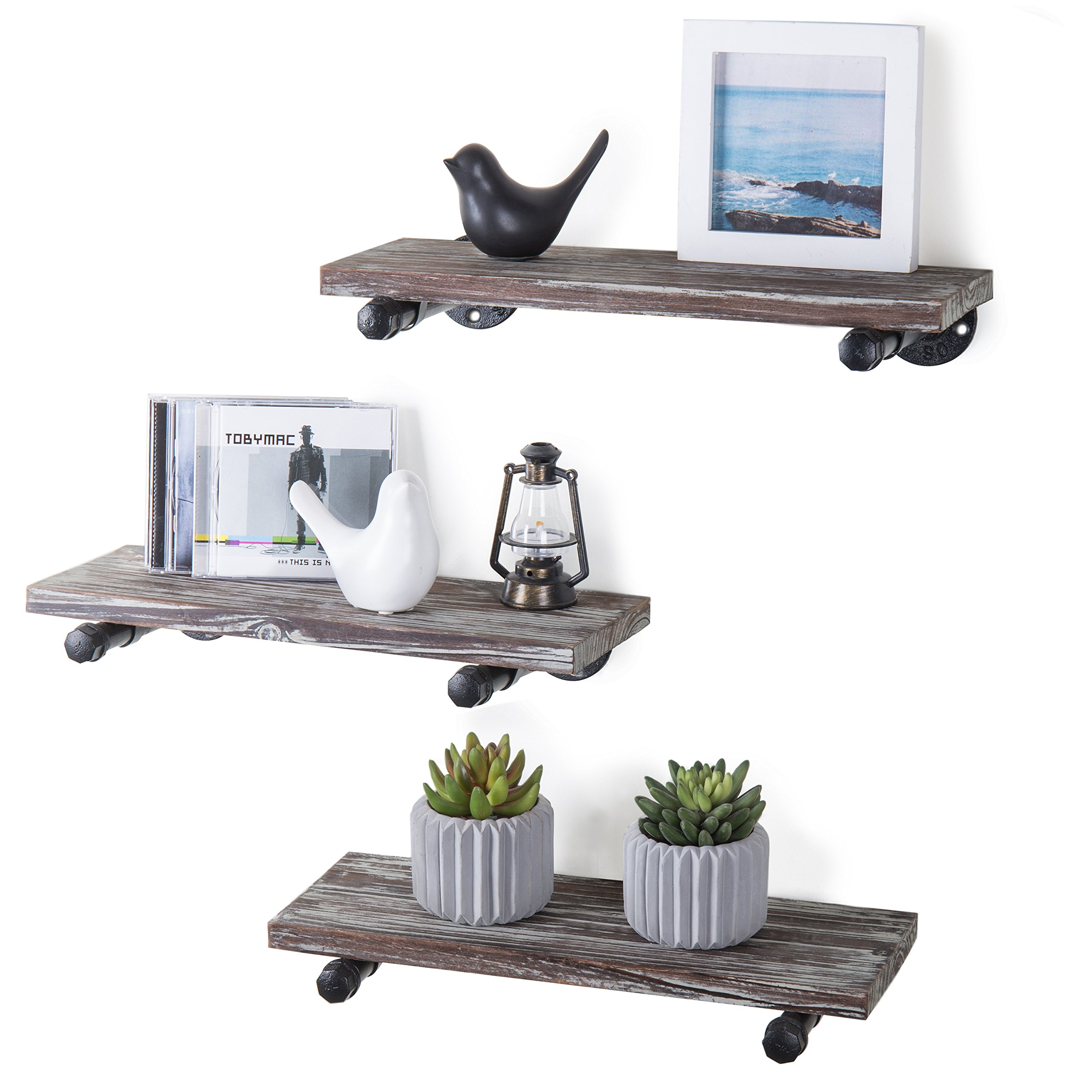 MyGift Urban Rustic Wall-Mounted Torched Wood Floating Shelves, Set of 3 by MyGift