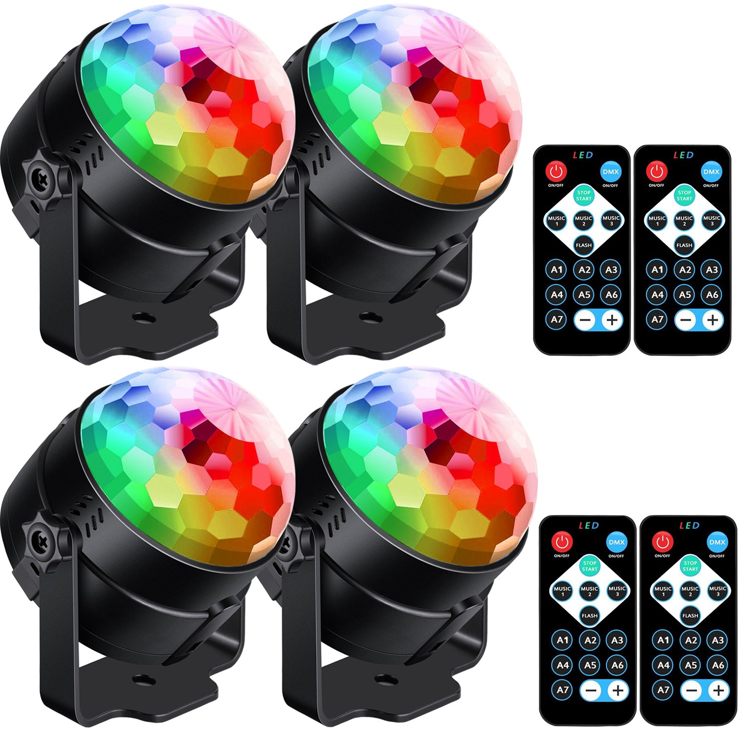 4 Pack Sound Activated Party Lights with Remote Control Dj Lighting RBG Disco Ball Light Strobe Lamp 7 Modes Stage Par Light for Home Room Dance Parties Bar Karaoke Xmas Wedding Show Club