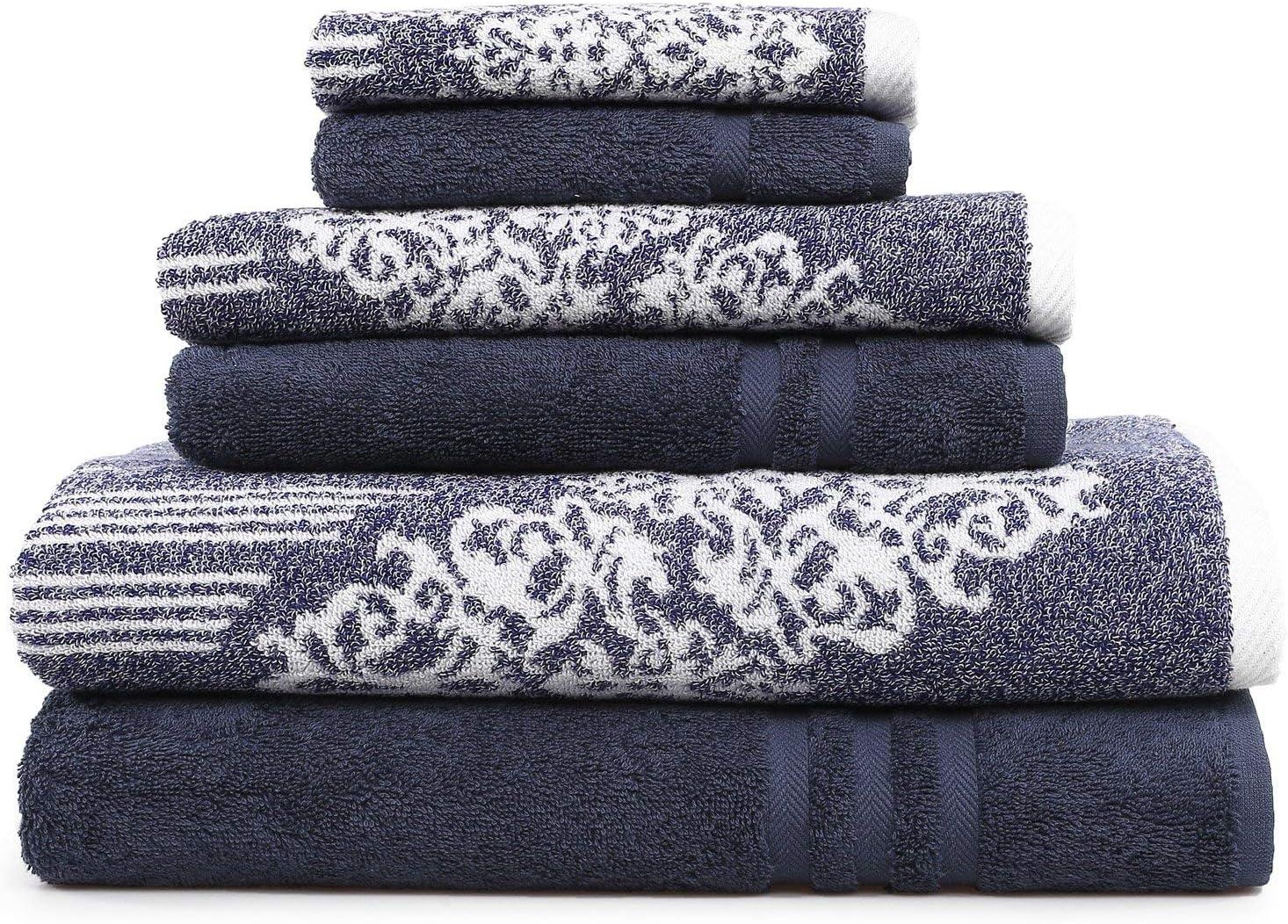 Linum Home Textiles Gioia-Denzi Bath Towel, (6 Piece), Ocean Blue/Twilight Blue