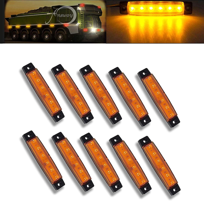 10 x 12V SMD 6 LED AMBER//ORANGE SIDE REAR MARKER LIGHT TRAILER TRUCK BUS LORRY