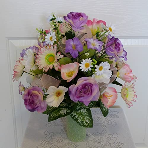 Lavender Silk Flowers Cemetery Arrangement With 3 Inch Standard Cone Base Artificial Flora Handmade Products