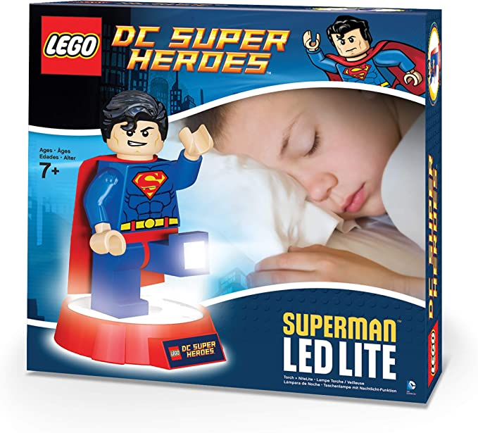 "Large 8/"" Lego Lights DC Comics Superheroes Superman Torch Figure"