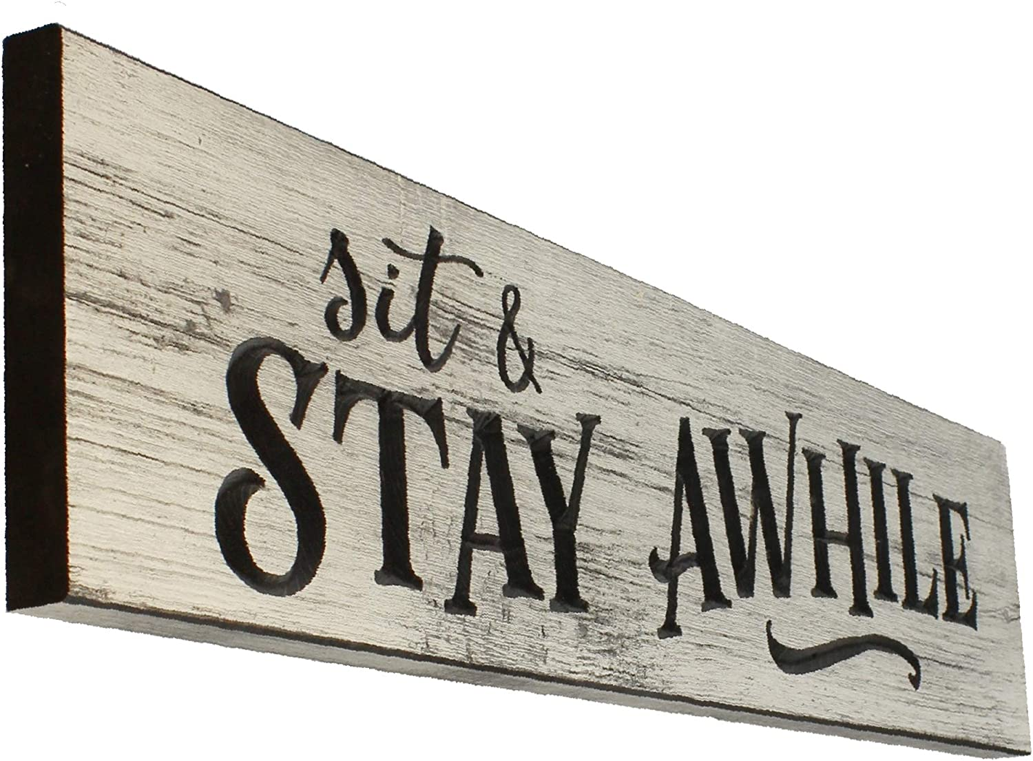 Large Sit and Stay Awhile Engraved Rustic Whitewash Wood Wall Sign Farmhouse Decor