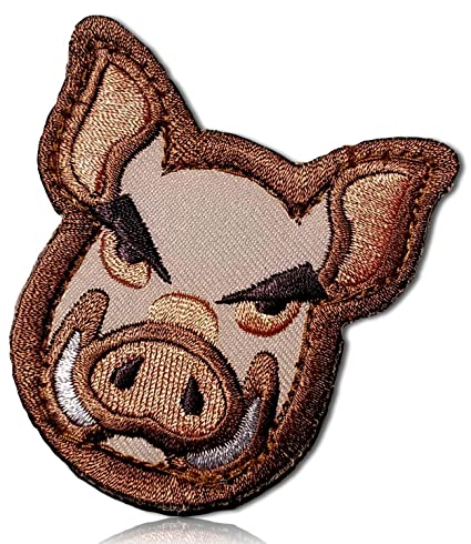 Wild Wilderness Animals Pig Bore Hog Tusks Teeth Angry Snarl Frown Head  Snout Bold Outlined Military Desert Camo Camouflage Hook & Loop Fastener  Patch