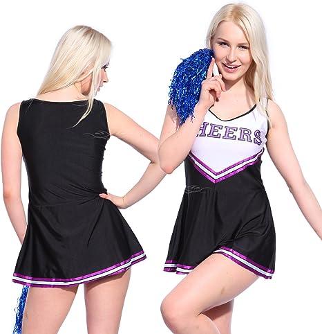 Anladia - Disfraz de Animadora Cheerleader para Adulta Mujer Mini ...