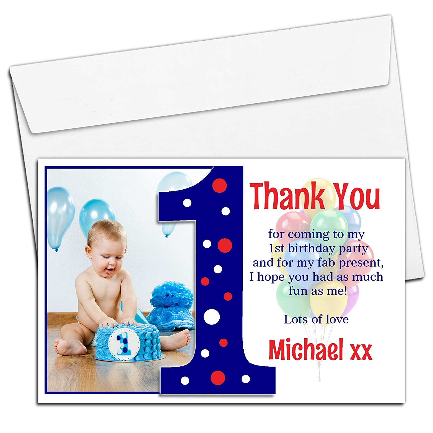 10 Personalised Boys First 1st Birthday Party Thank You PHOTO Cards N191 Amazoncouk Office Products