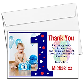10 Personalised Boys First 1st Birthday Party Thank You Photo Cards