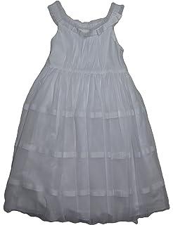 64505dab0 Marmellata Bella Girlswhite Grosgrain-Ribbon Mesh Flower Dress Size 7, White