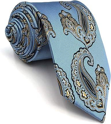 Shlax&Wing Hombre Seda Corbatas Para Azul Cachemir La Moda Extra ...