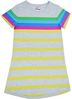 Brix Girls  Short Sleeve Cotton Nightgown – Super Soft Comfort Striped  Nightshirt. bc83f73b5