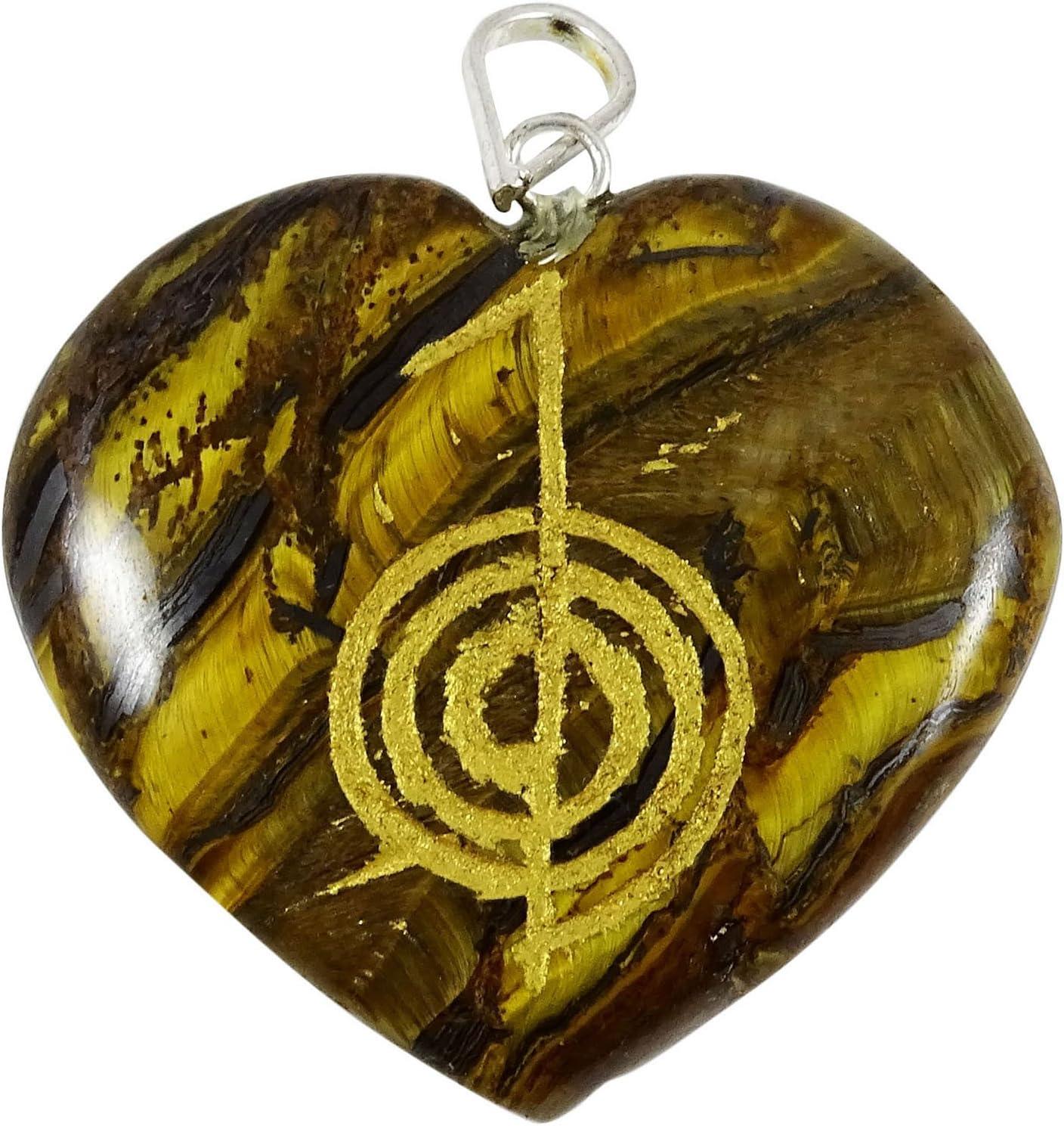 Harmonize Símbolo de Piedra del Ojo del Tigre de Piedra Amuleto en Forma de corazón Reiki Espiritual Colgante