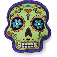 goDog Sugar Skulls with Chew Guard Technology Squeaker Dog Toy, Green, Small