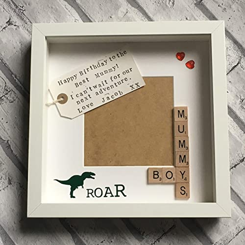 Mummys Boys Mother Son Personalised Scrabble Photo Frame 9x9