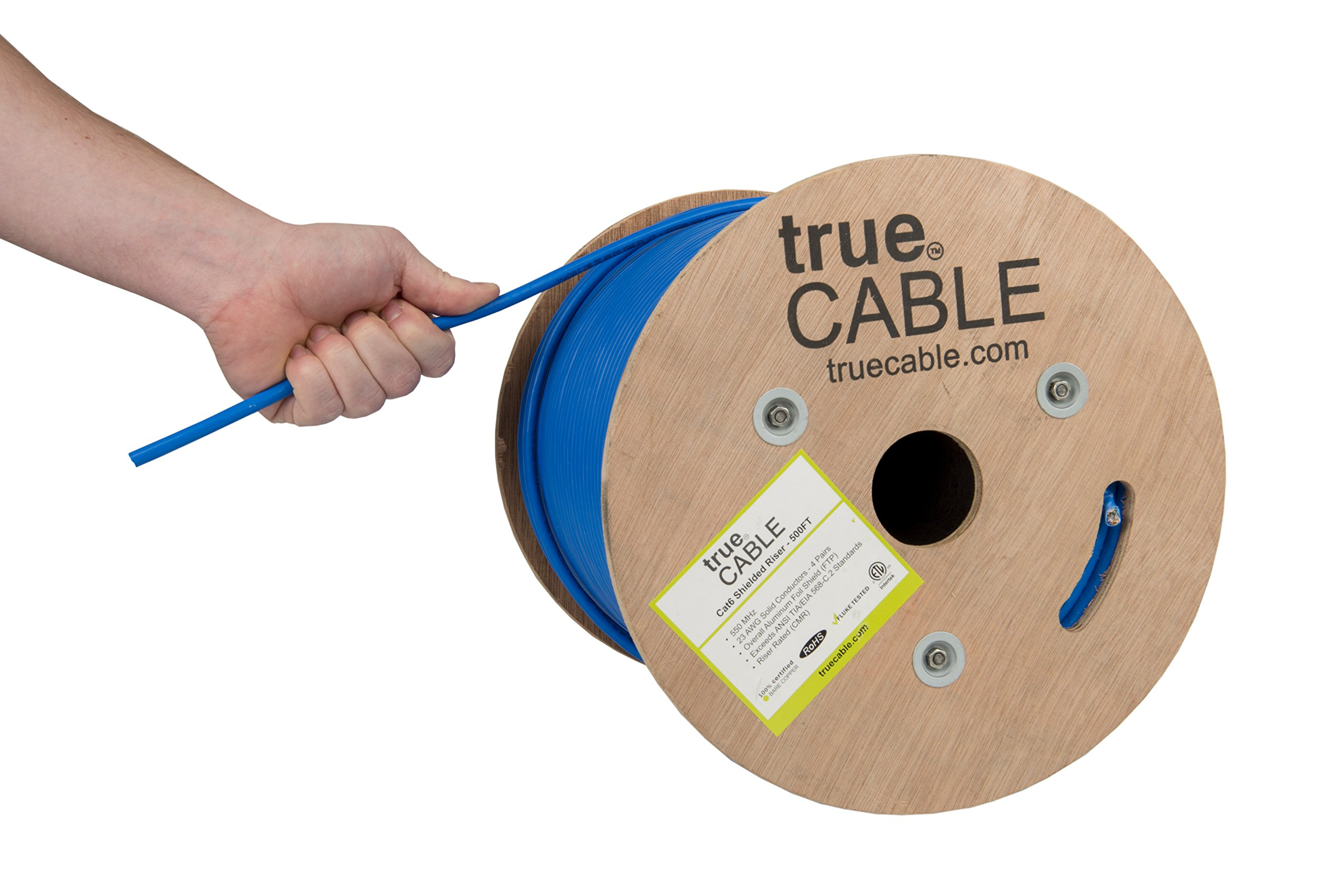 Cat6 Shielded Riser (CMR), 500ft, Blue, Solid Bare Copper Bulk Ethernet Cable, 550MHz, ETL Listed, 23AWG, Overall Foil Shield (FTP), trueCABLE
