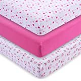M&Y Premium Fitted Crib Sheets (3-PACK) GIRLS + Free Breastfeeding Guide | Heavenly Soft 100% Jersey Knit Cotton | Fits Standard Crib Mattress for Babies & Toddler Mattress (52x28x9 inch)