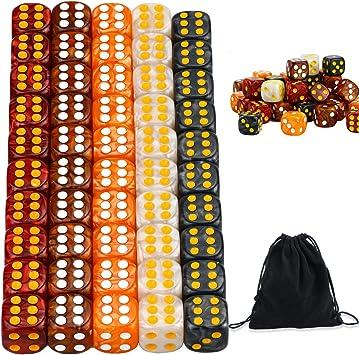 YOUSHARES Juego de Dados Multicolores de 50 Piezas - Colores Surtidos con 10 Piezas Cada uno, Dados