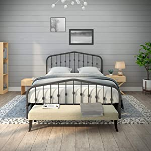 AMBEE21 Taj Mahal Queen Metal Bed Frame with Headboard and Footboard – Platform/Wrought Iron/Heavy Duty/Solid Sturdy Metal Slat/Charcoal Grey Silver/No Box Spring Needed/Mattress Foundation