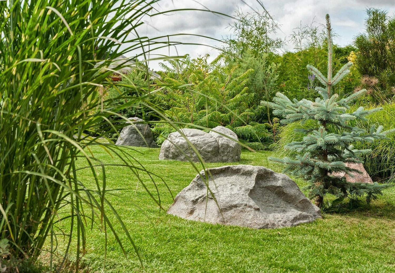 GARTENDEK Findlinge Stein Attrappe f/ür Garten Gartenfelsen Hohl Gartendeko Kuntstein Gro/ß Steinabdeckung f/ür Sandfilterlange - /Ø 80cm M-02 Transformator usw Grau