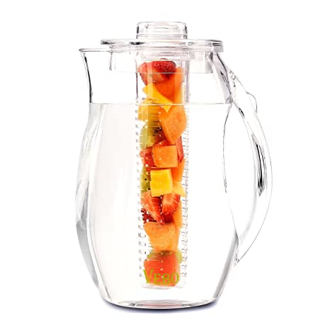 6012c930fe Amazon.com | VeBo Tea and Fruit Infusion Pitcher With Ice Core Rod - 2.9  Quart Water Pitcher Infuser: Carafes & Pitchers