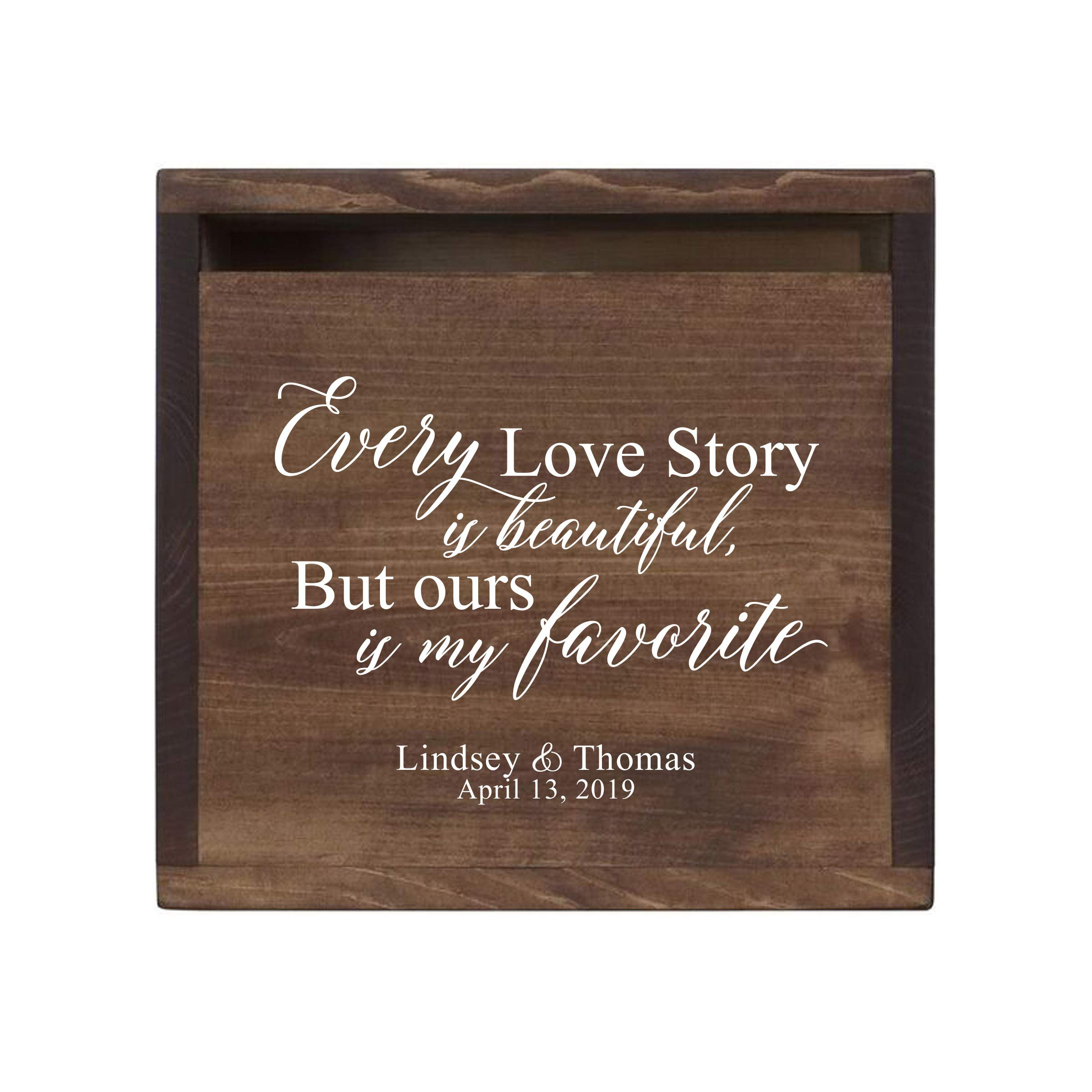"""LifeSong Milestones Personalized Every Love Story Rustic Wooden Wedding Card Box Custom Card Holder with Front Slot for Newlyweds Couples Reception 13.5"""" L x 12"""" W x 12.5"""" T (Walnut)"""