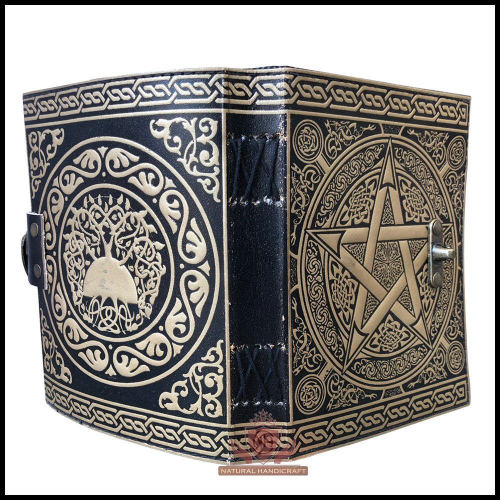 Pentagram Embossed Handmade Witchcraft Book of Shadows Leather Journal Book Wicca Pagan Pentacle Notebook Office Diary College Book Poetry Book Sketch Book 5 x 7 Inches for Men and Women by Natural Handicraft (Image #2)