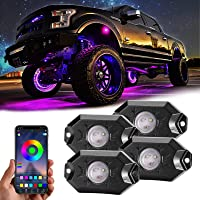 RGB Led Rock Lights, 4 Pods Underglow Multicolor Neon Light Accessories with App Control Timing Music Mode Lighting Kit…