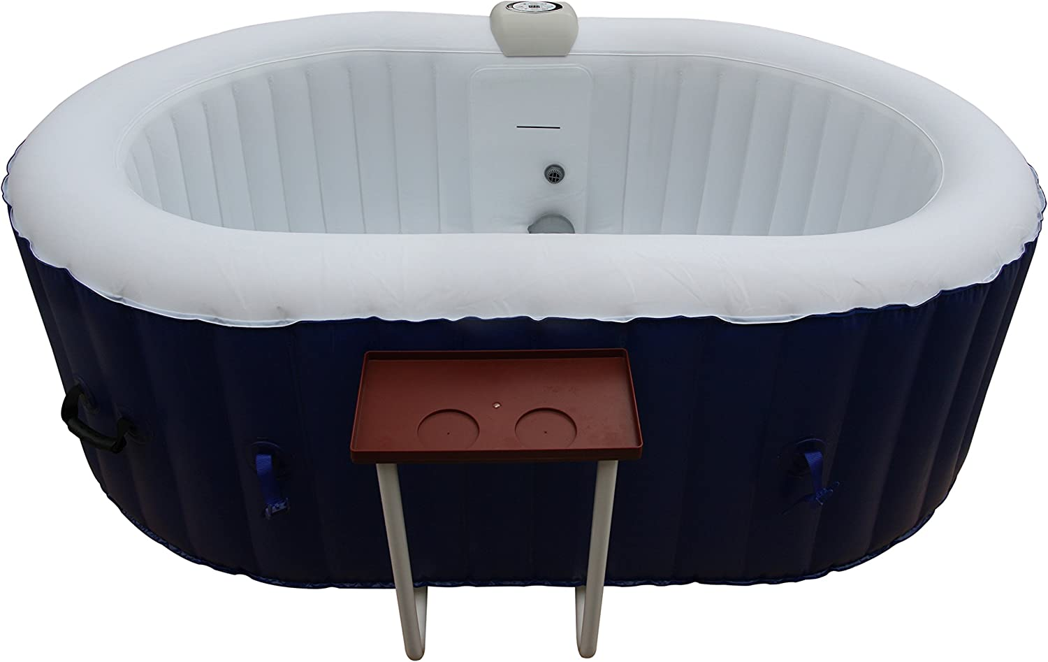 ALEKO HTIO2BLD Oval Inflatable Hot Tub Spa with Drink Tray and Cover, 2 Person Portable Hot Tub - 145 Gallon Dark Blue