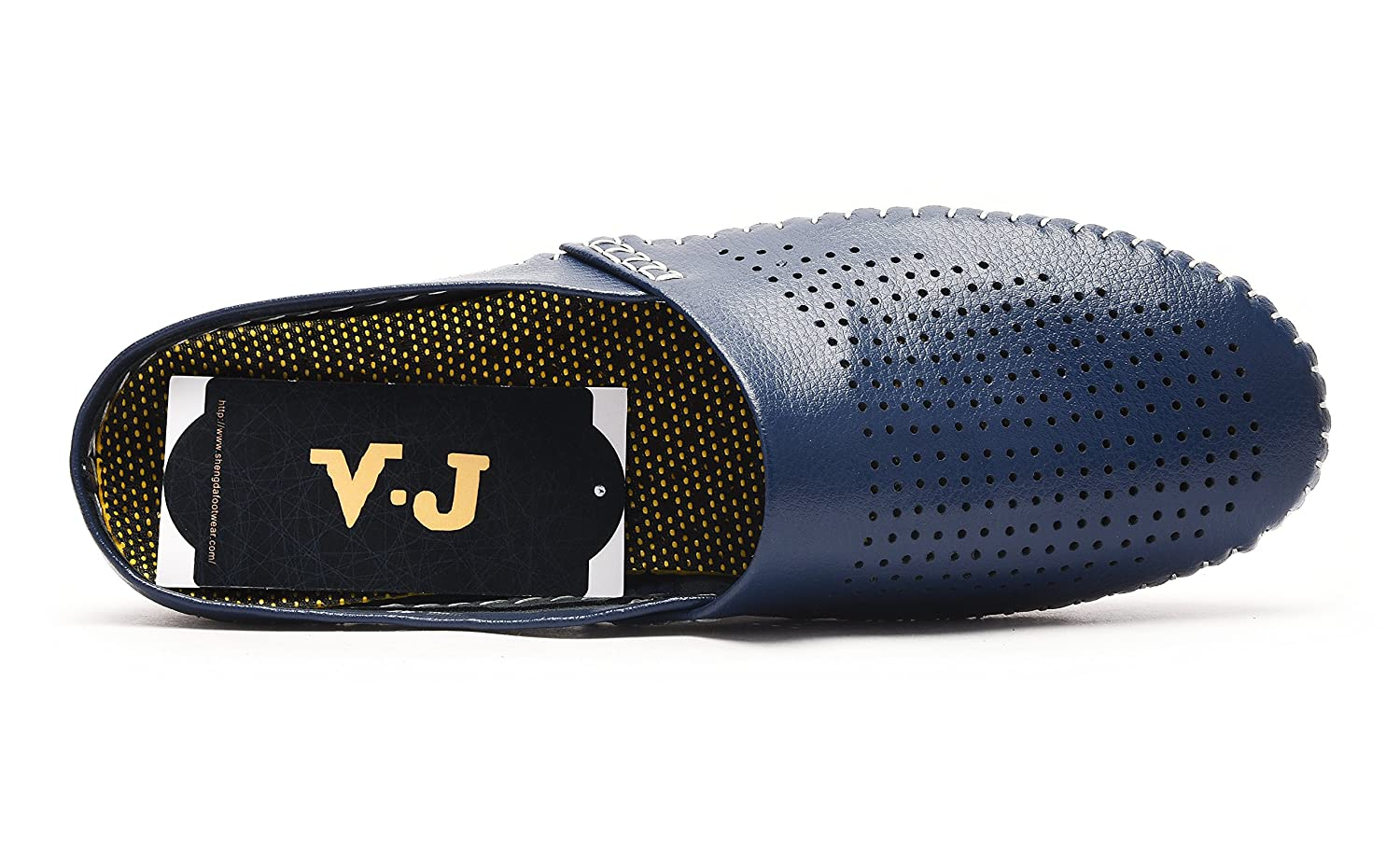 V.J Mens Classic Handsewn Genuine Leather House Slippers Office Slippers Casual Breathable Sandals