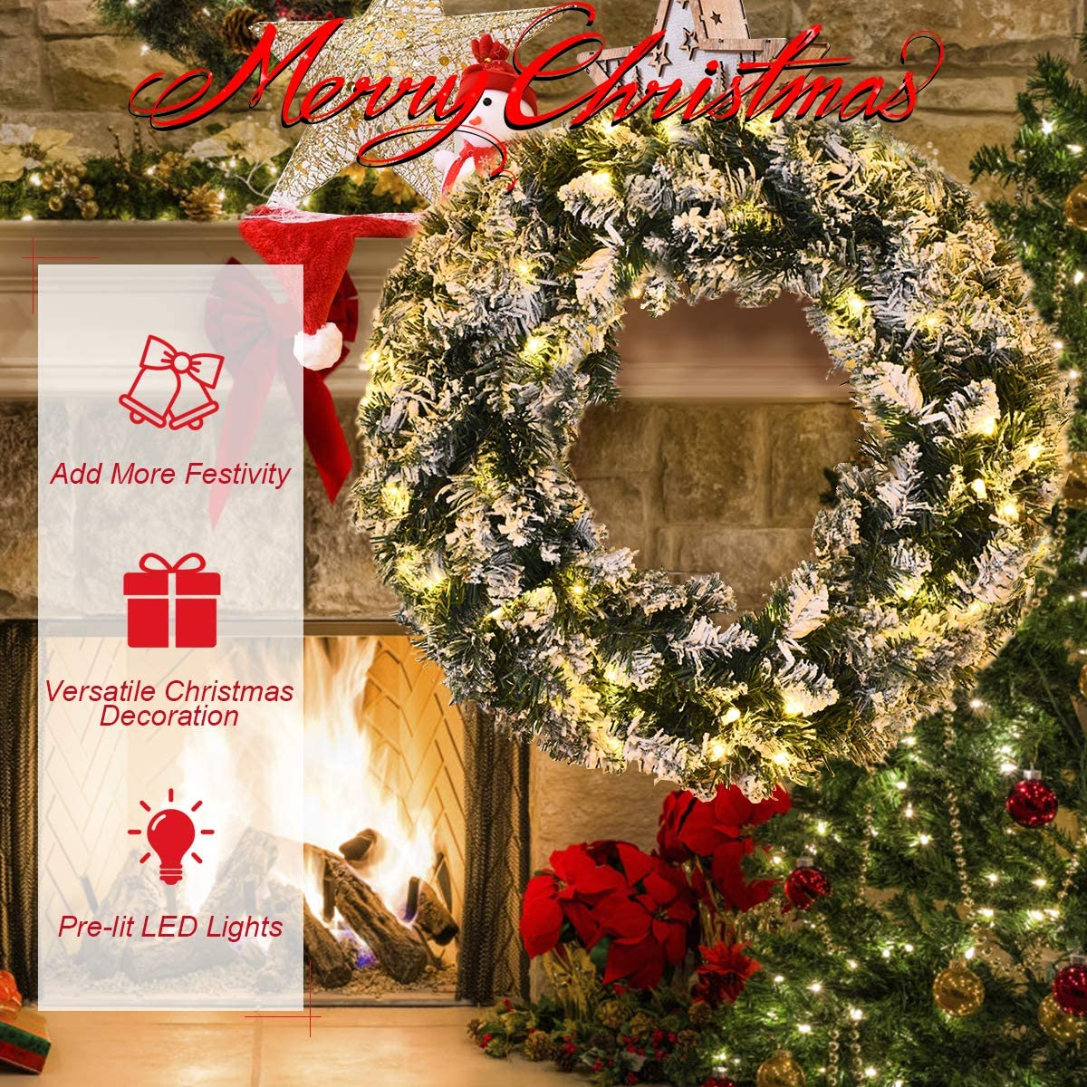 11*26cm Flower Gift Decor Artificial Wreath Red Christmas Table Tree Pine Branch
