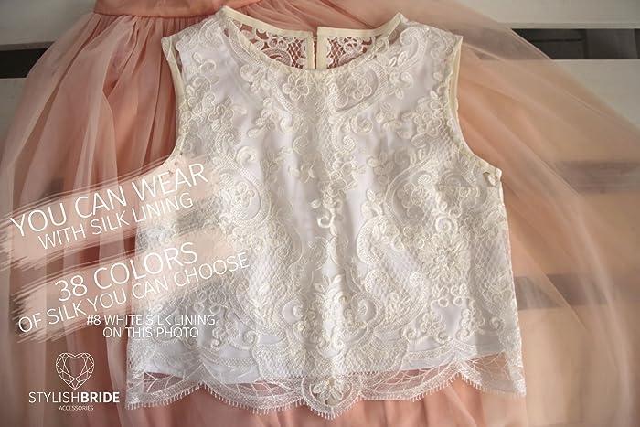 de79f60dfcf Amazon.com: Freesia Lace Crop Top White Lace Crop top Wedding Crop Top Silk Lace  Top Tops Sleeveless Tank Camisole Wedding Silk Bridesmaids White Cami: ...