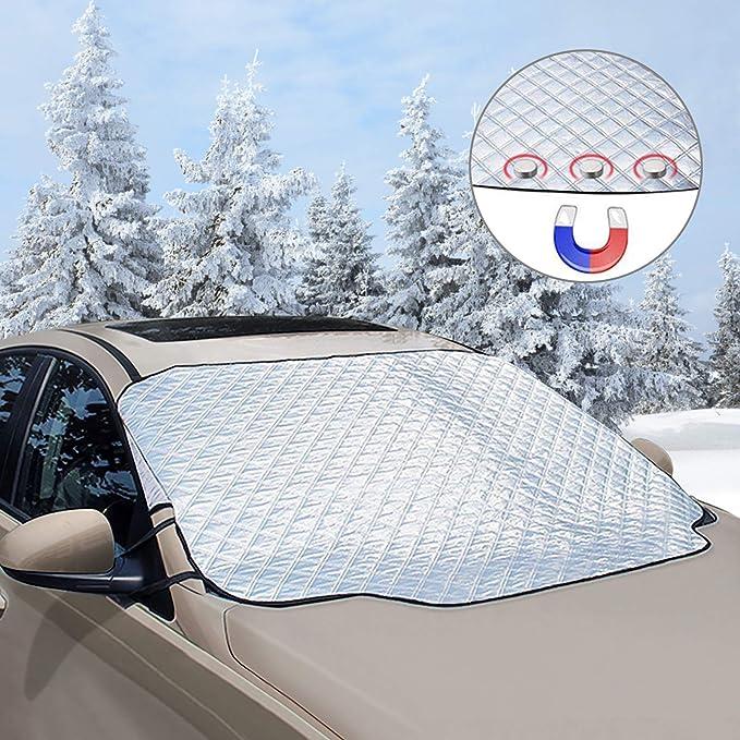 Couverture Pare-Brise Voiture Contre Le Soleil la Neige UV Glace Protection Pare Brise Hiver Anti Givre Gwotfy 2 Pcs Protege Pare Brise Givre 185 x 100cm Pluie
