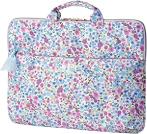 ELECOM Floral Pattern Laptop Computer Sleeve Case, Support up to 13.3inch PC, Carry Handles, Front PC Accessory Pocket BM-IBFB13F2